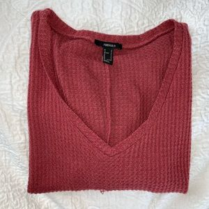 F21 RED WAFFLE KNIT BOXY FIT TOP